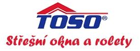 logo firmy Toso® - døevìná a plastová støešní okna a rolety